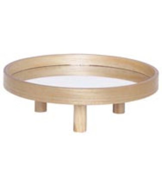 Cosy @ Home Plate With Support Mirror Nature 35x35xh12cm Round Wood