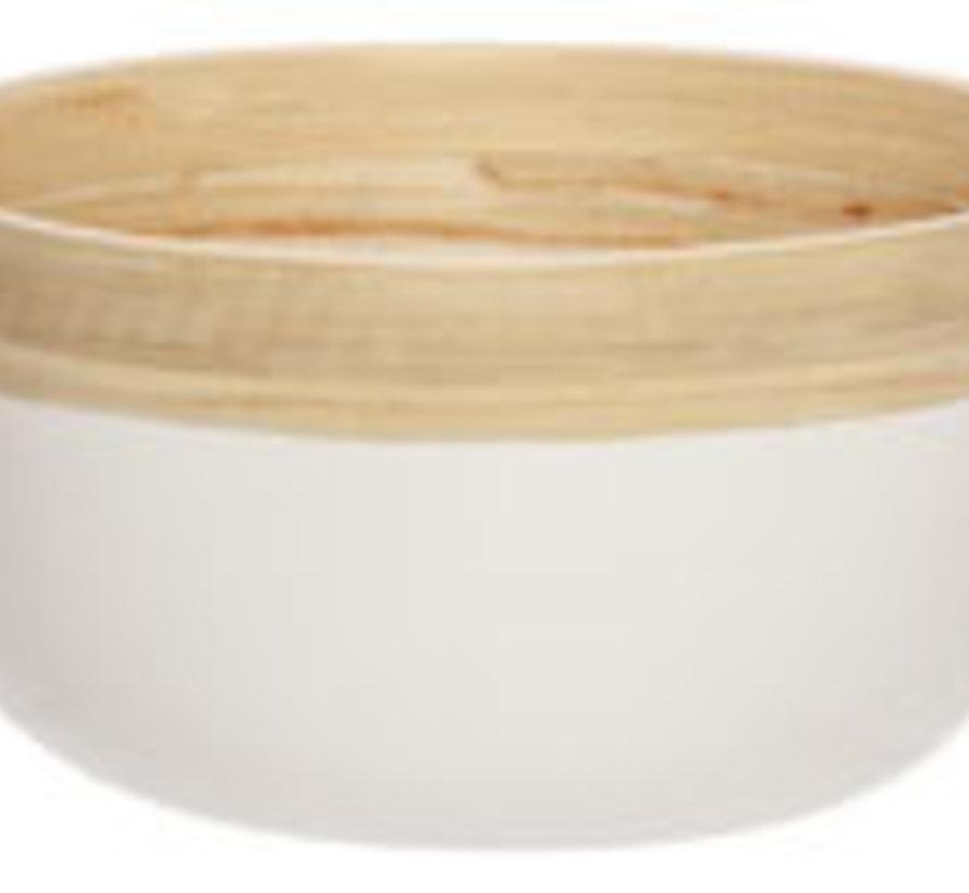 Schussel Mat Weiss 17x17xh9cm Oval Bambus