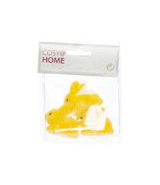 Cosy @ Home Kaninchen Set3 Flocked Gelb 4,5x2xh4cm (24er Set)