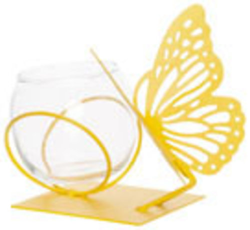 Cosy @ Home Theelichthouder Butterfly 1x Glass Cup D8-h7cm Geel 13x13xh12cm Rond Metaal