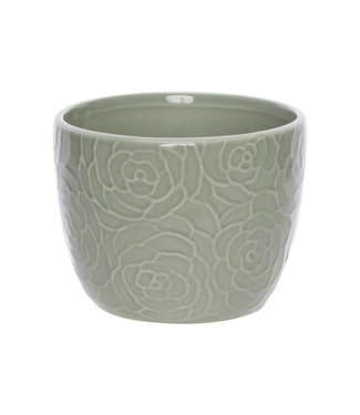 Cosy @ Home Flowerpot Rose Green D13xh10cm Round Conical Dolomite