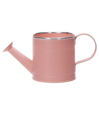 Cosy @ Home Watering Can Silver Rim Peach 12x12xh12cm Round Conical Metal