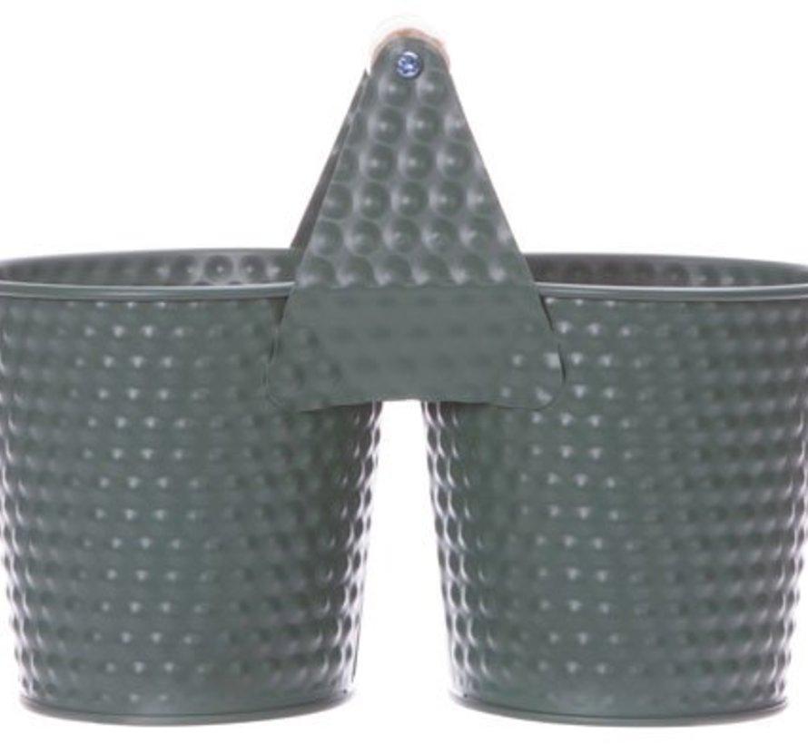 Duopot Mosgroen 22x8,2xh10,6cm Ovaal Metaal (set van 4)
