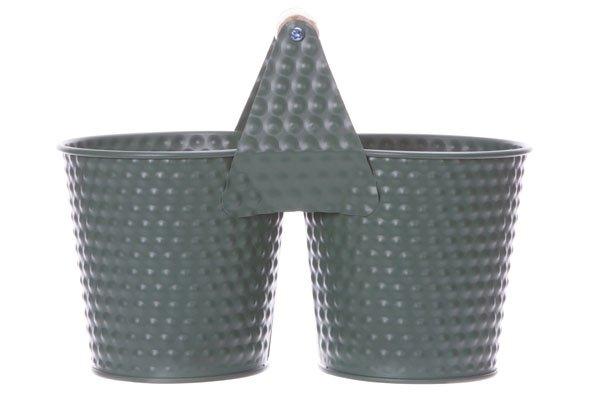 Cosy @ Home Duopot Mosgroen 22x8,2xh10,6cm Ovaal Metaal (set van 4)