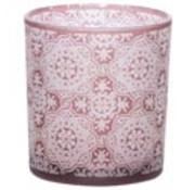 Cosy @ Home Tealight Glass Mandala Burgundy 7x7xh8cm (set of 6)