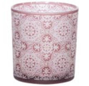 Cosy @ Home Teelichtglas Mandala Bordeaux 7x7xh8cm (6er Set)