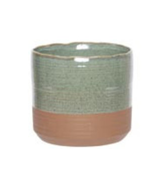 Cosy @ Home Flowerpot Duo Green 13x13xh12,5cm Cylindrical Stoneware