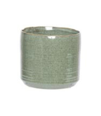 Cosy @ Home Flowerpot Green 16,5x16,5xh15cm Cylindrical Stoneware