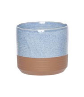 Cosy @ Home Flowerpot Duo Blue Jeans 13x13xh12,5cm Cylindrical Stoneware