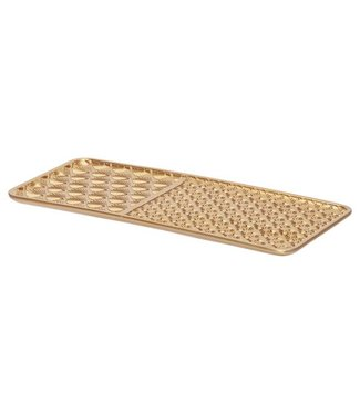 Cosy @ Home Tray Peacock Gold 16x,7xh35,3cm Rectangular Wood (set of 6)