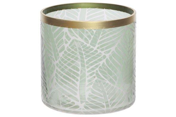 Cosy @ Home Windlicht Leaf Groen 8,8x8,8xh10cm Rondglas (set van 4)