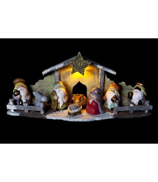 Cosy @ Home Xmas Creche Led 46x15h20cm Wood Resineincl 2 Ag13 Batt