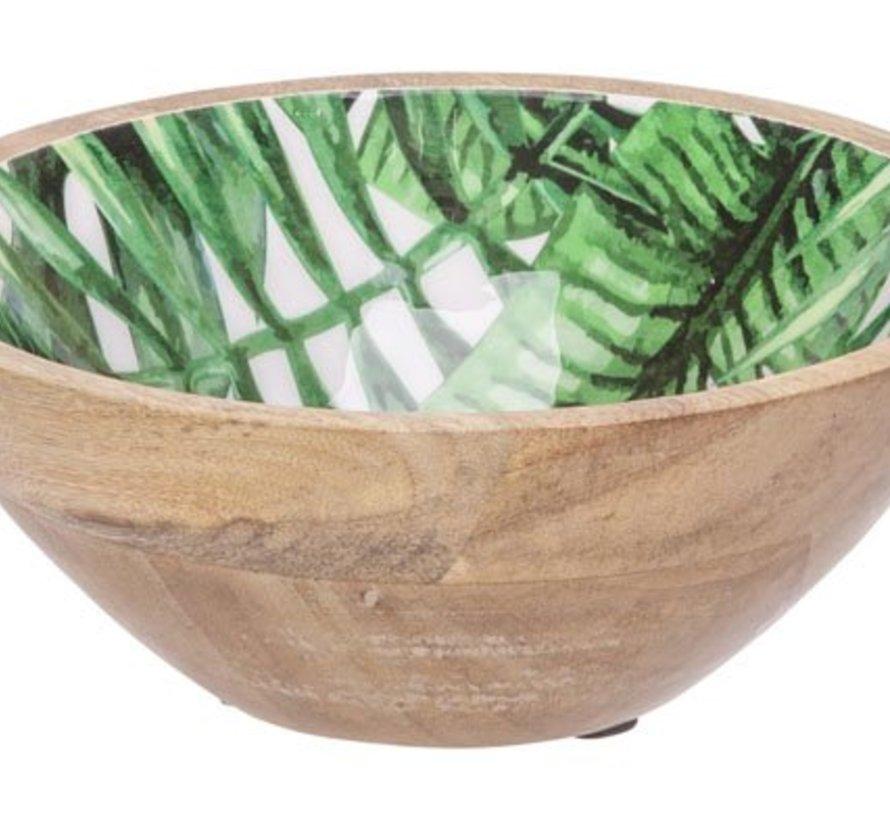 Jungle Schaal Groen 18x18xh7,5cm Ovaal Hout