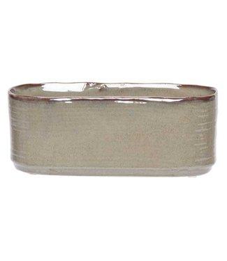 Cosy @ Home Pflanzentopf Green Braun 25x11xh10cm Oval Steinzeug