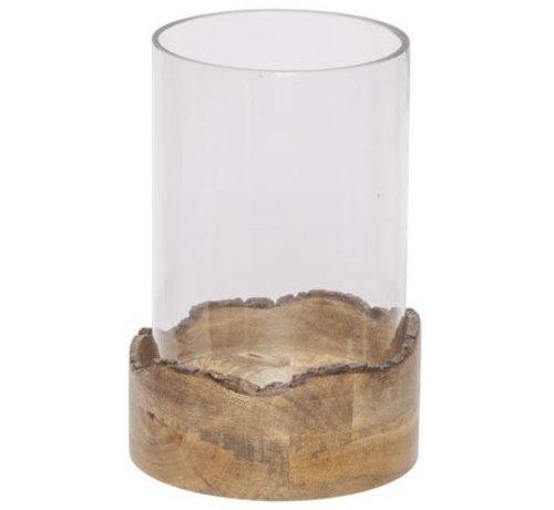 Cosy @ Home Windlicht Trunc Braun 17,5x17,5xh26cm Rund Holz