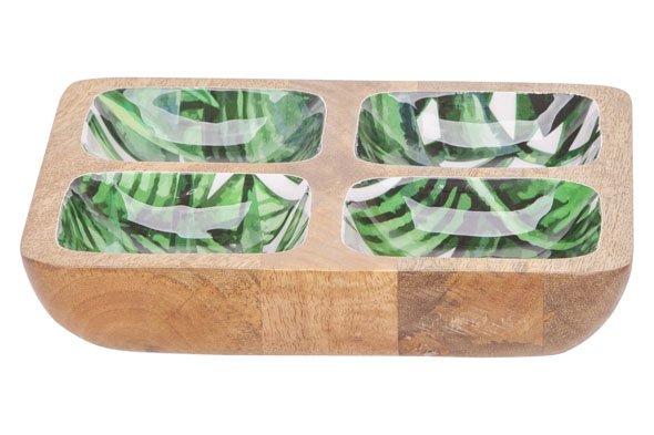 Cosy @ Home Aperoschaaltje Jungle Groen 20,5x20,5xh4cm Vierkant Hout