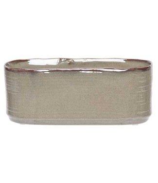 Cosy @ Home Pflanzentopf Green Braun 15x8xh8cm Ovalsteinzeug