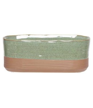 Cosy @ Home Pflanzentopf Duo Grun 25x11xh10cm Oval Steinzeug