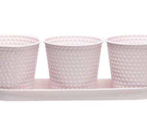 Cosy @ Home Pot Trio Schaal Roze 35x32xh10,5cm Ovaal Metaal