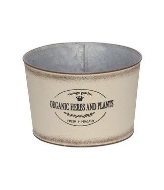 Cosy @ Home Pflanzentopf Vintage Garden Cream 15x15xh11cm Rund Zink