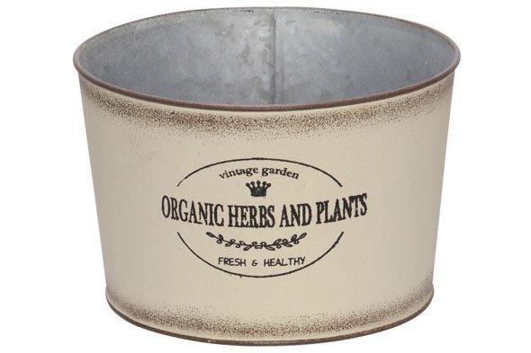 Cosy @ Home Plantenbak Vintage Garden Creme 15x15xh11cm Rond Zink