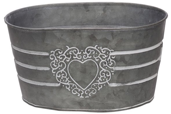 Cosy @ Home Plantenbak Heart Wit 23x15xh12,5cm Ovaal Zink