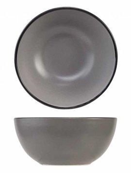 Cosy & Trendy Speckle Grey Kommetje D14xh7.2cm zwarte Boord set van 6