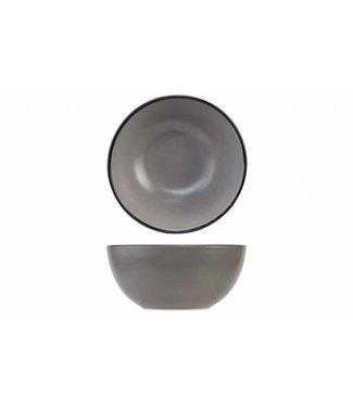 Cosy & Trendy Speckle - Schüssel - Grau - Mit schwarzem Rand - 4xh7.2cm - Keramik - (6er-Set).