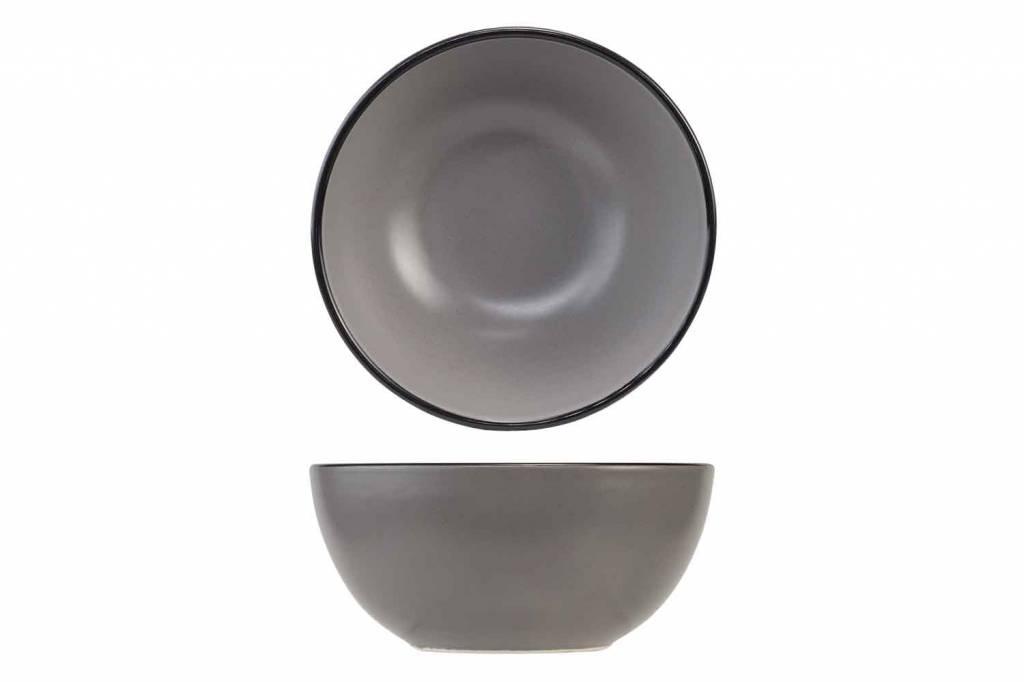 CT Speckle Grey Kommetje D14xh7.2cm zwarte Boord set van 6