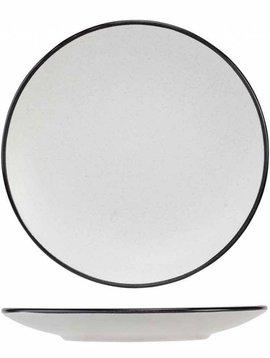 CT Speckle2white Dessert Teller D19.5xh2.5cm Black Rim (6er Set)