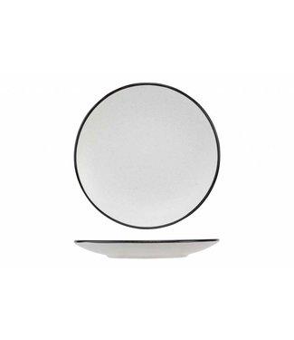 Cosy & Trendy Speckle Wit Dessertborden met zwarte Boord - Aardewerk - D19.5xh2.5cm (Set van 6)