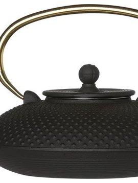 CT Nara Teapot Cast Iron 0.8L Matt Black Handle in Gold