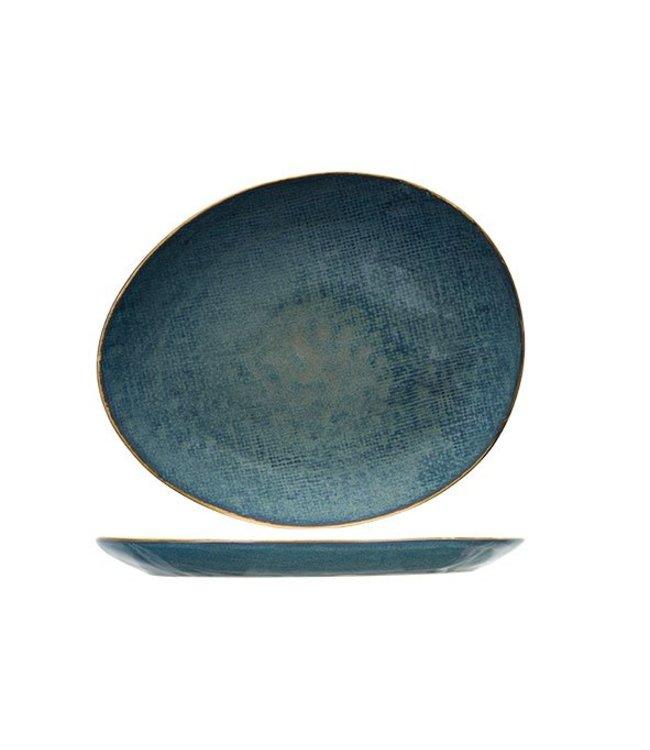 Cosy & Trendy Aicha Blauw Ovaal Dessertborden - Aardewerk - 19,5x16,5cm (Set van 6)