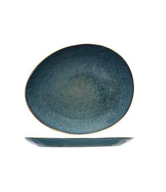 Cosy & Trendy Aicha Blue Plat Bord in Aardewerk - 27x23cm Ovaal (set van 6)