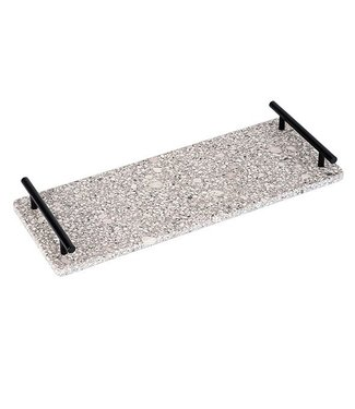 Cosy & Trendy Medical Stone Tray Handles In Black Metal 40x15cm Rectangular