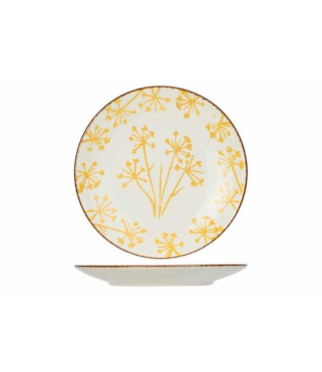 Cosy & Trendy Anis  Geel Dessertborden - Aardewerk -  D21,9cm (Set van 6)