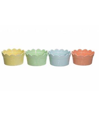 Cosy & Trendy Crown - Ijscoupe - D10xh5.2cm - Geel-Oranje-Groen-Blauw - Keramiek - (set van 6).