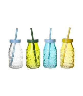 Cosy & Trendy Bottle Colored Glass D6xh12cm 4 Asswith Lid And Straw (24er Set)
