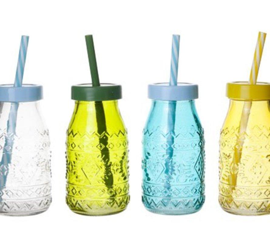 Flesje Gekleurd Glas D6xh12cm 4 Assmet Deksel En Rietje