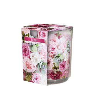 Cosy & Trendy Ct Scented Candle Glass Roses 22hrsd7xh8cm (set of 6)