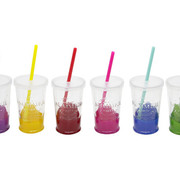 Cosy & Trendy Summer Party Glass D7.5xh13cm Set 6 Asswith Lid And Straw