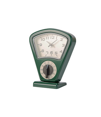 Cosy & Trendy Timer En Uurwerk - Groen - 17,5x10xh21cm - Metaal.