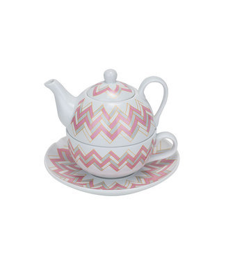 Cosy & Trendy Teapot With Cup And Saucer D11xh14.5cmpink-grey 36.5cl -  Cup 30cl