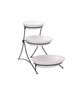 Cosy & Trendy Buffet - Etagere - White - 3 Bowls - 37.5x30h33.5cm - 30.8x20 - 25.5x17 - 20.8x13cm - Porcelain.