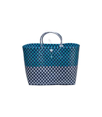 Cosy & Trendy Winkeltas Trendy Blauw - wit 44x27x36cm