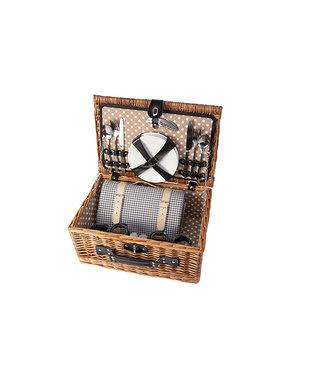 Cosy & Trendy Pcknickmand 4p-bestek-borden-wijnglazen-zout-peperstrooier-wijnopener