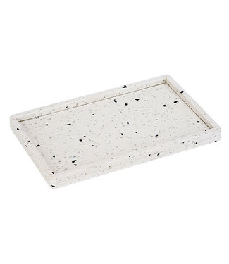 Cosy & Trendy Terrazzo Tray 27x17cm Wit Met Boordopstaand - Rechthoek