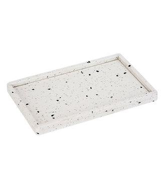 Cosy & Trendy Terrazzo Tray 27x17cm With Bord Whiterectangular