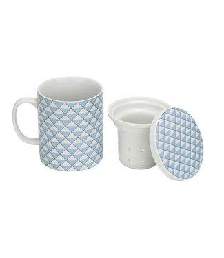 Cosy & Trendy Tea cup - Blue - D8xh10.5cm - 28cl - Porcelain - (set of 4).