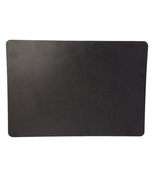 Cosy & Trendy Placemat Leather Black Rectangular 43x30cm Not-rough Structure (12er Set)